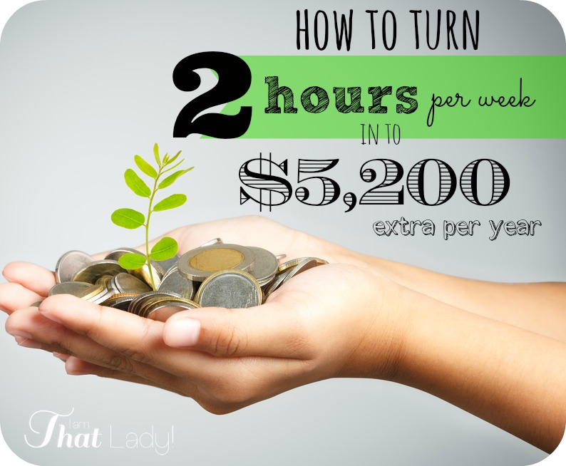 Are you tight on money? I can teach you how to turn 2 hours of work per week into an extra $5,200 per year! That is a HUGE deal!