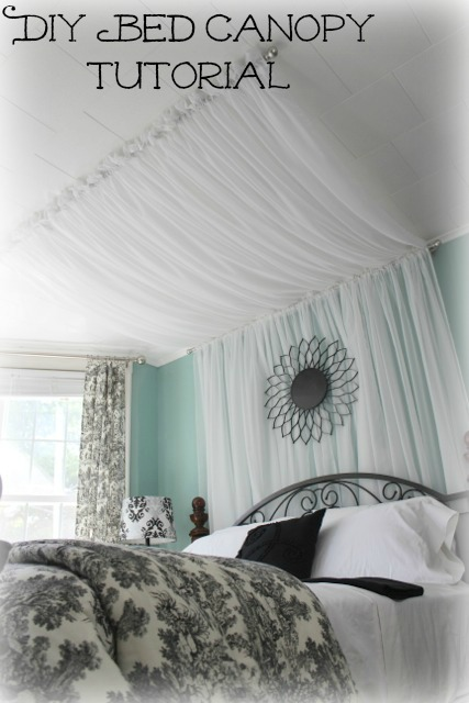 This is such a creative Master Bedroom idea - check out this romantic bed  canopy out
