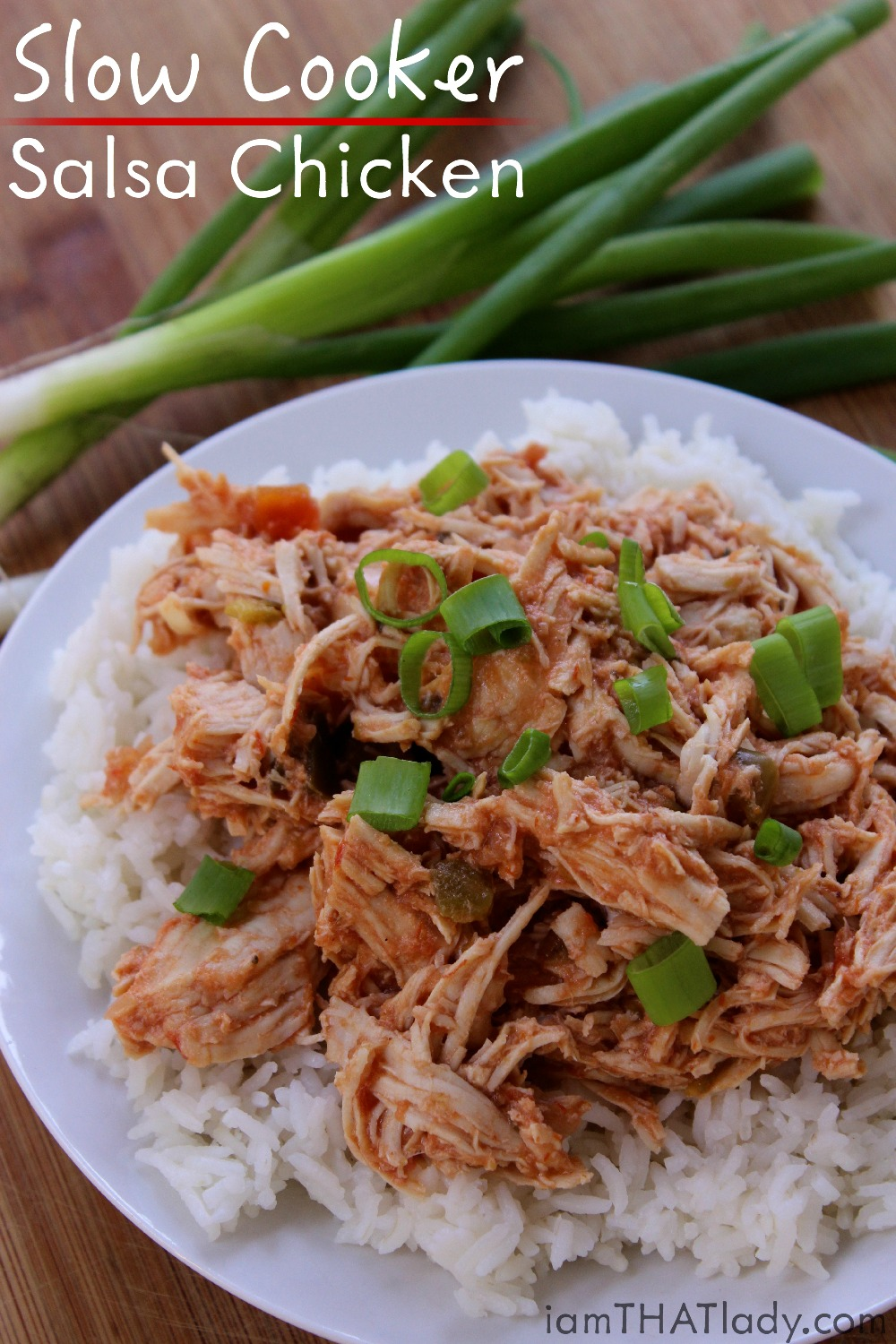 Need something SUPER easy for dinner tonight? This Slow Cooker Salsa Chicken is it! Salsa, chicken, and just a couple other ingredients in your crockpot and you're good to go!