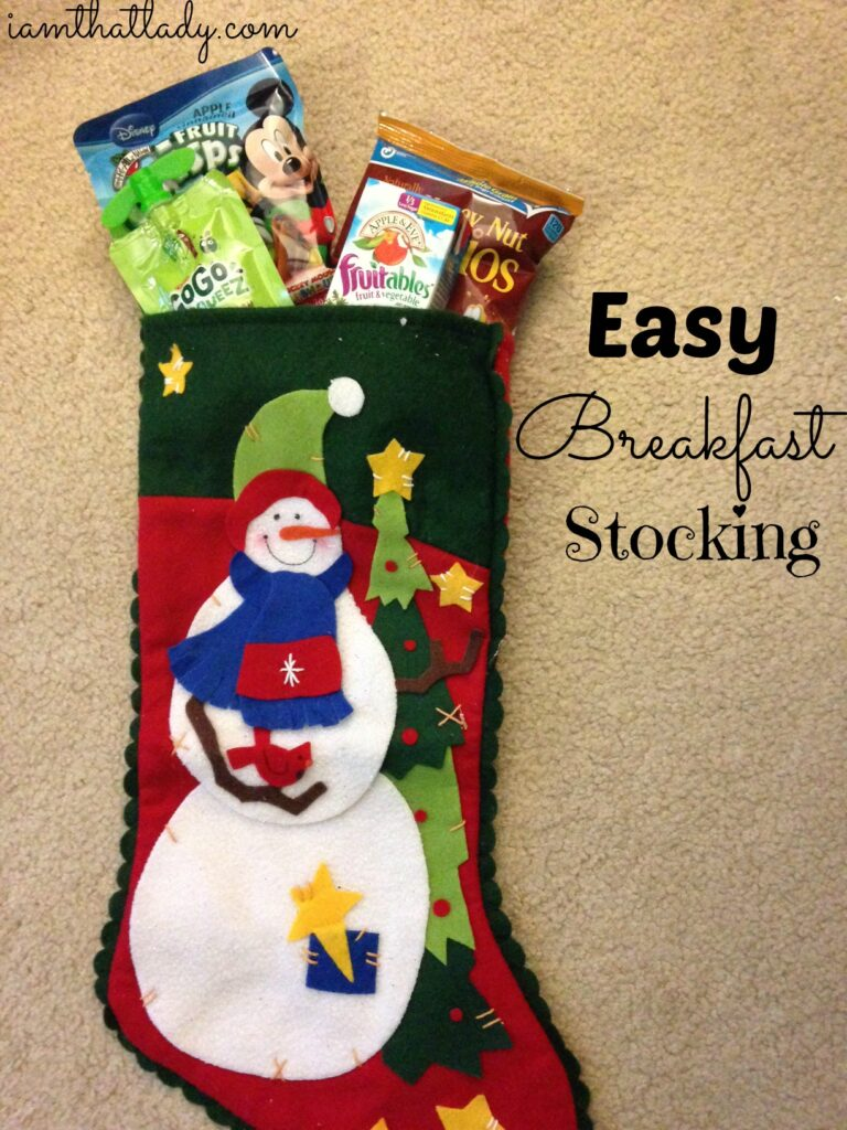 Do your kids wake you up early Chrismtas morning?  Why not pack them a breakfast stocking, so they can eat their breakfast while playing with their stocking stuffers! It should get you some extra sleep!