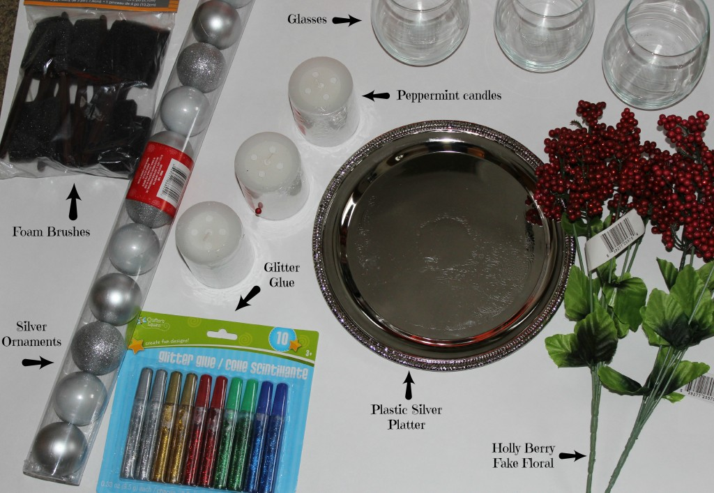 For only $12.00 you can create a stunning Christmas centerpiece with supplies from Dollar Tree,  Here is what you will need to buy for this project.