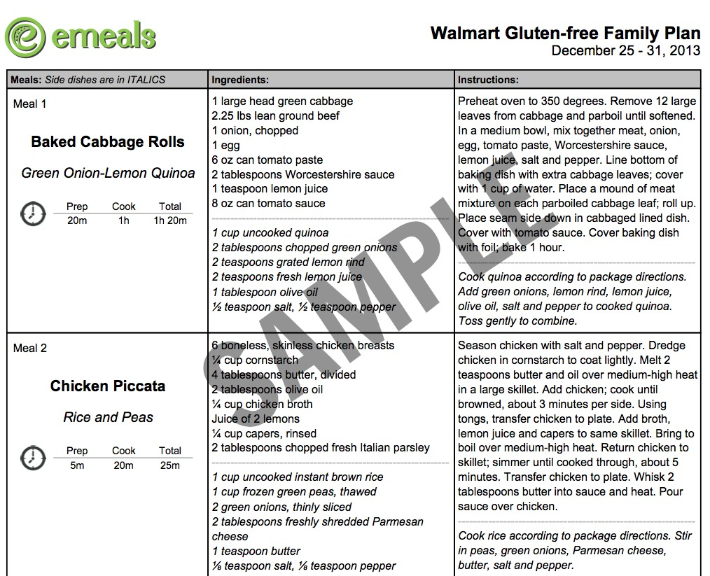 Sample Menu of EMeals