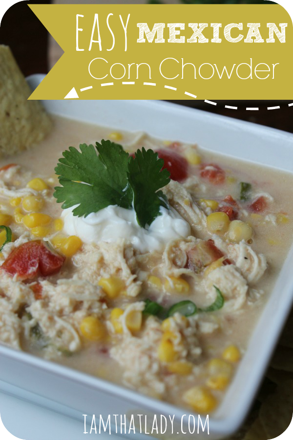 This easy Mexican Chicken and Corn Chowder is always a hit at my parties! You can make it ahead and freeze it until the big day!