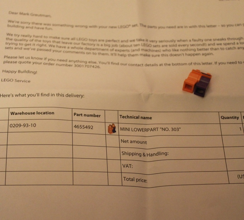 This is the letter that we received from Lego with our Free missing piece!