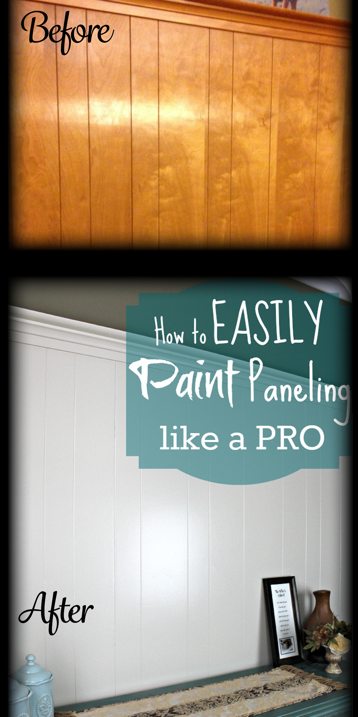 After a lot of research and searching I realized how to easily paint over  wood paneling - DIY Home Repair Hack: Easily Paint Over Wood Paneling