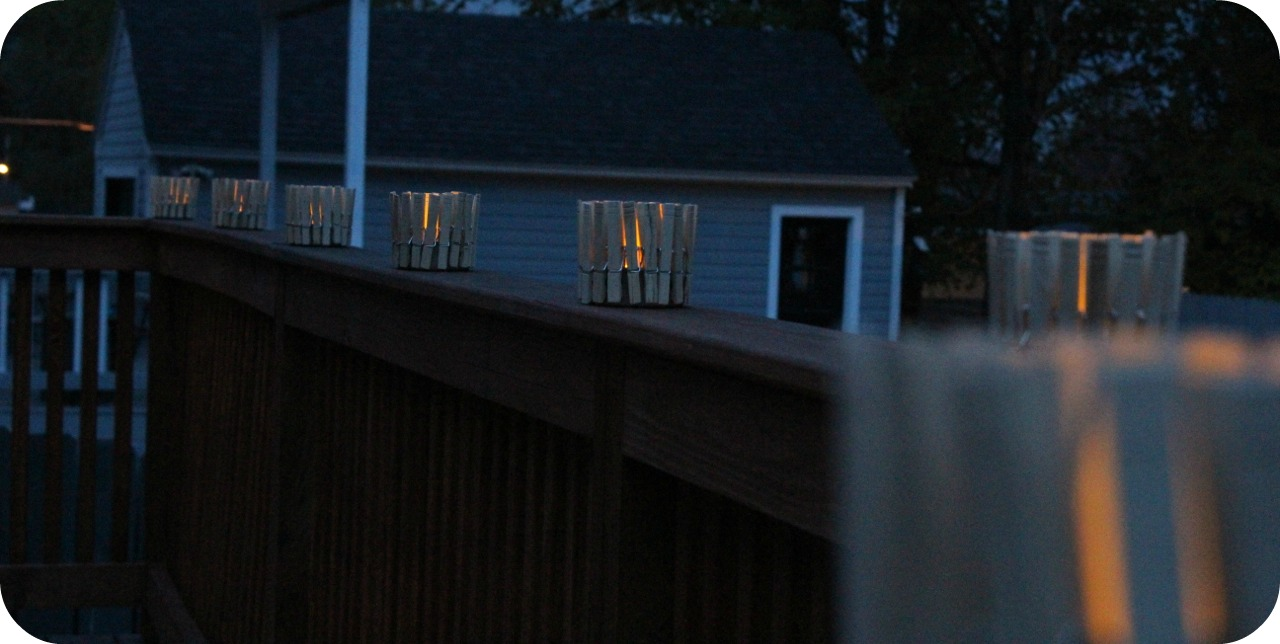 Deck candles at night