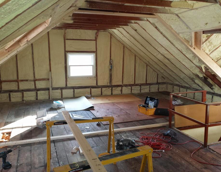The new office in the attic lauren greutman for Insulated office