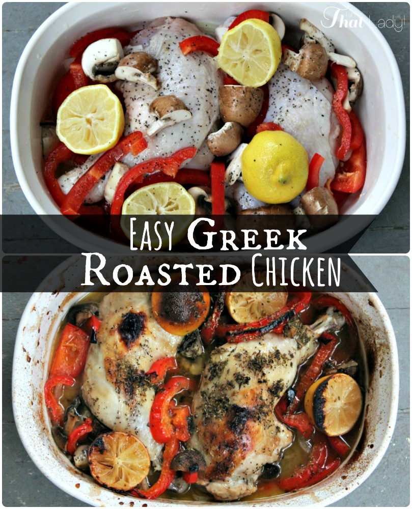 Looking for a ridiculously tasty way to bake your boring chicken? Check out this Greek-style Roasted Chicken! You can use white meat or dark meat, doesn't matter - and it's SO easy!