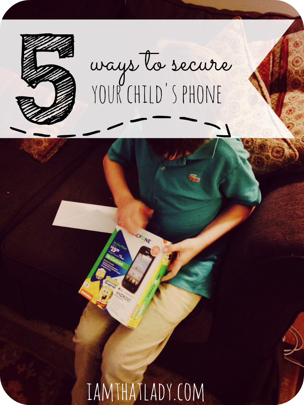 Getting a cell phone for your young child can be terrifying - but it has to happen some time!  There are many ways to secure your child's phone to keep them safe, but here are the top 5 ways that work for us!