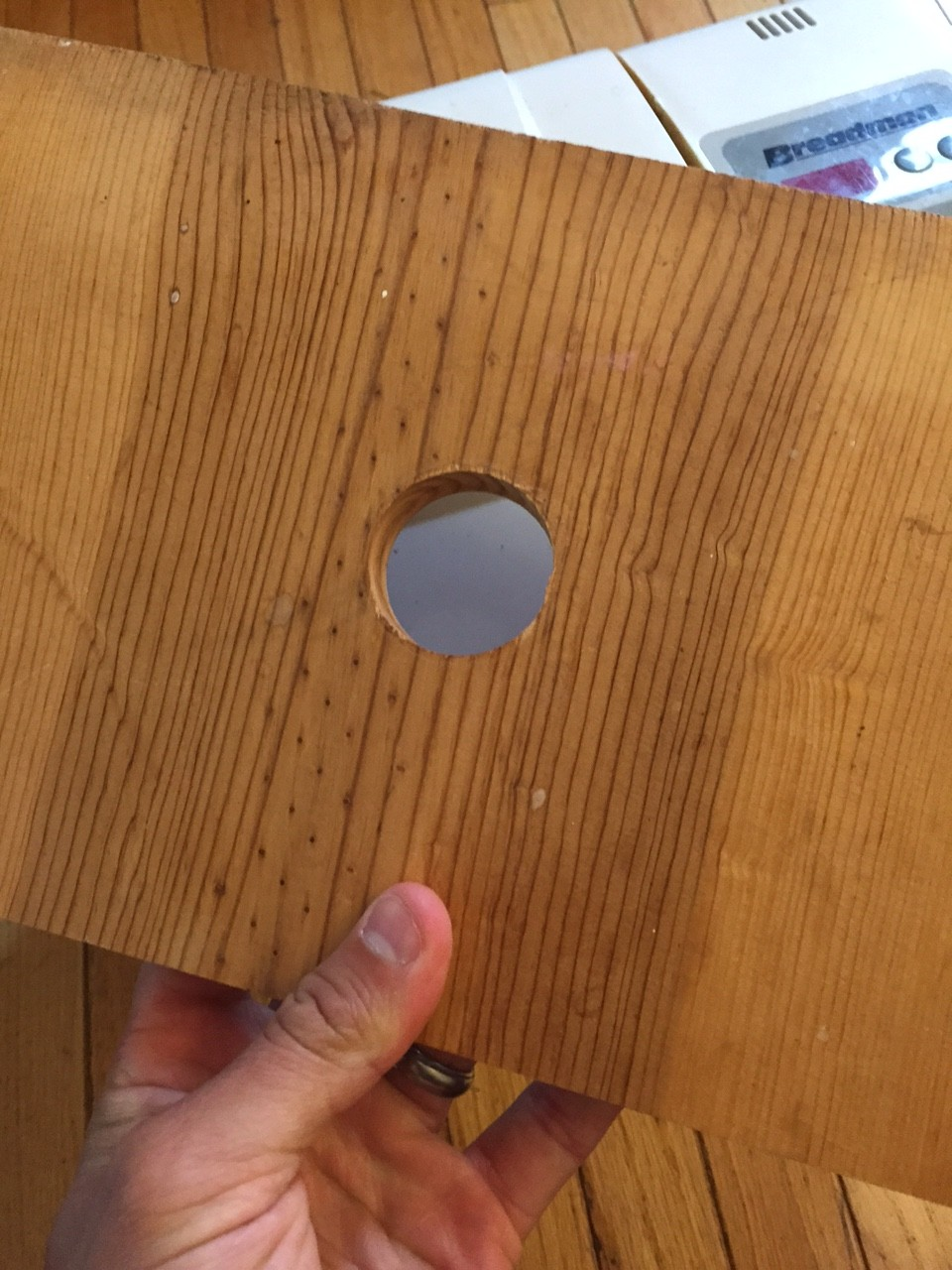 Hole in a piece of wood