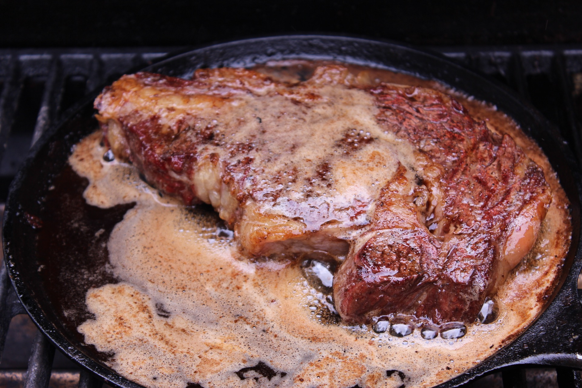 Steak cooking in butter