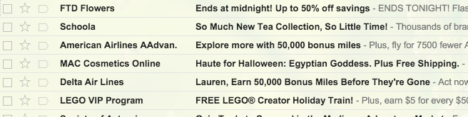 Deals in my inbox