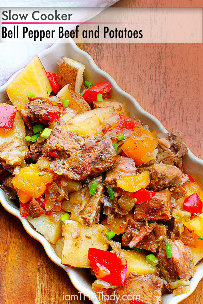 Looking for something filling and tasty? This slow cooker Bell Pepper Beef and Potatoes will hit the spot!